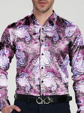 Load image into Gallery viewer, Men Lapel Floral Print Shirt