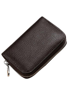 Solid Simple Zipper Leather Wallet