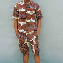Load image into Gallery viewer, Men Asymmetric Printed Short Sleeve&Shorts Set