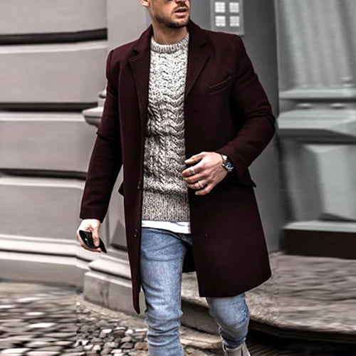 Men Fashion Lapel Solid Color Coat