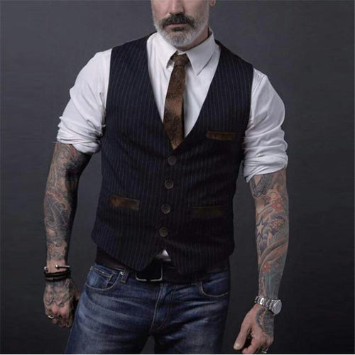 Men Striped Single Breasted Casual Waistcoat