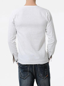 Men Casual Soft V-Neck Blouse Shirt