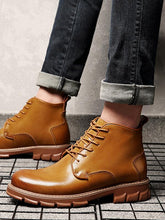 Load image into Gallery viewer, Solid Casual Leather Fashion Lace-up Boots Shoes