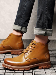Solid Casual Leather Fashion Lace-up Boots Shoes