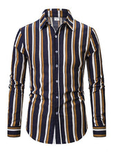 Load image into Gallery viewer, Men Striped Long Sleeves Shirt