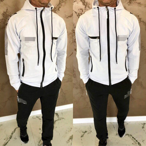 Men's New Fashion Hooded Long-Sleeved Sports Two Piece Suits