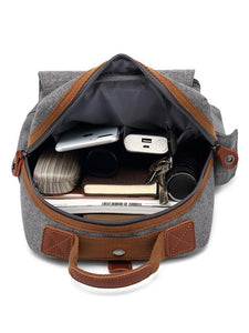 Casual Split-Joint Canvas Laptop Backpack