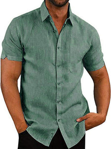 Men Short Sleeve Cotton Shirt