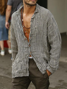 Men Narrow Striped Blouse Shirt