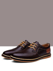 Men Lace-up Leather Loafers Shoes