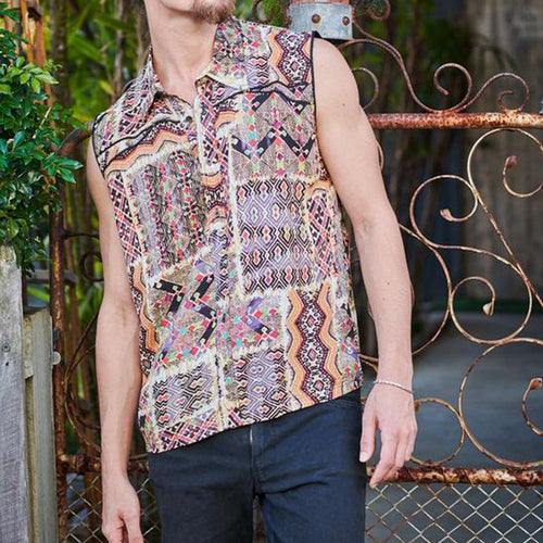 Men Retro Printed Sleeveless Shirt