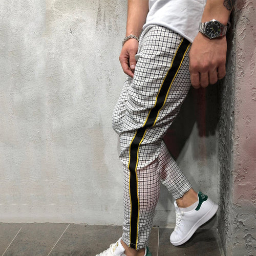 Men Casual Plaid Trousers