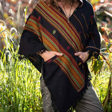 Load image into Gallery viewer, Men Hooded Poncho Boho Print Plus Shawl