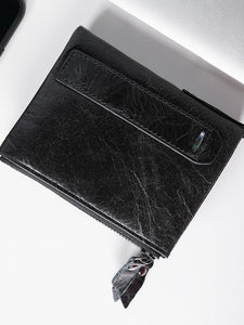 Solid Zipper Leather Simple Wallet