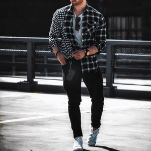Men Plaid Splicing Long Sleeves Shirt