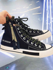 Men Casual Lace-up Flat High-top Canvas Shoes