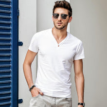 Load image into Gallery viewer, Men Basic V-Neck Solid T-Shirt