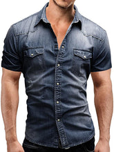 Load image into Gallery viewer, Men Short Sleeves Lapel Denim Shirt