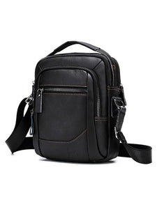 Solid Zipper Leather Multi-layer Pocket Crossbody Bag