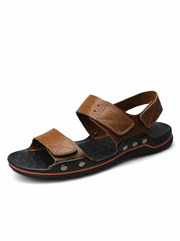Men Beach Casual Leather Sandal Shoes