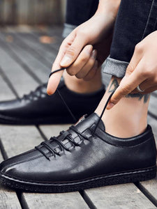 Men Casual Lace-up Fashion Leather Flat Shoes