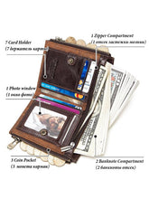 Load image into Gallery viewer, Leather Zipper Multi-layer Wallet