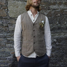 Load image into Gallery viewer, Men Single Breasted Herringbone Waistcoat