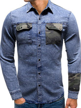 Load image into Gallery viewer, Men Lapel Denim Blouse Shirt