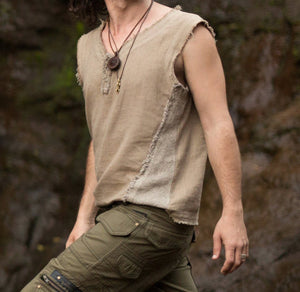 Men Frayed Style Vest Top