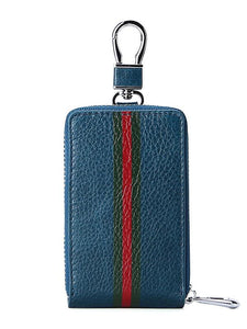 Striped Multifunction Leather Car Key Holder Keychain Wallet