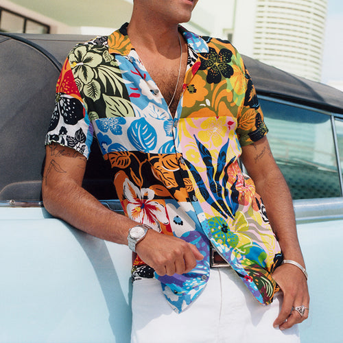 Men Vacation Split-Joint Pattern Blouses&Shirts Tops