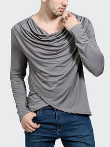 Men Shawl Collar Solid Shirts