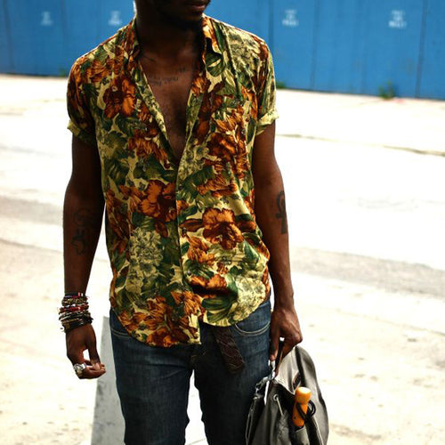 Men Floral Street Style Blouses&Shirts Tops