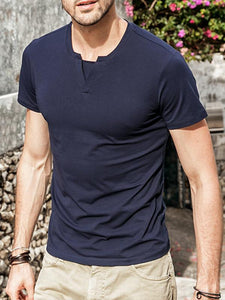 Men V-Neck Simple Tee