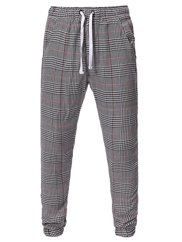 Men Casual Plaid Tapered Pants