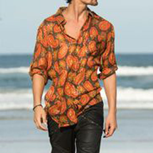 Men Spring Trendy Printed Long Sleeves Shirt
