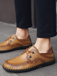 Men Lace-up Casual Comfortable Leather Loafers Shoes