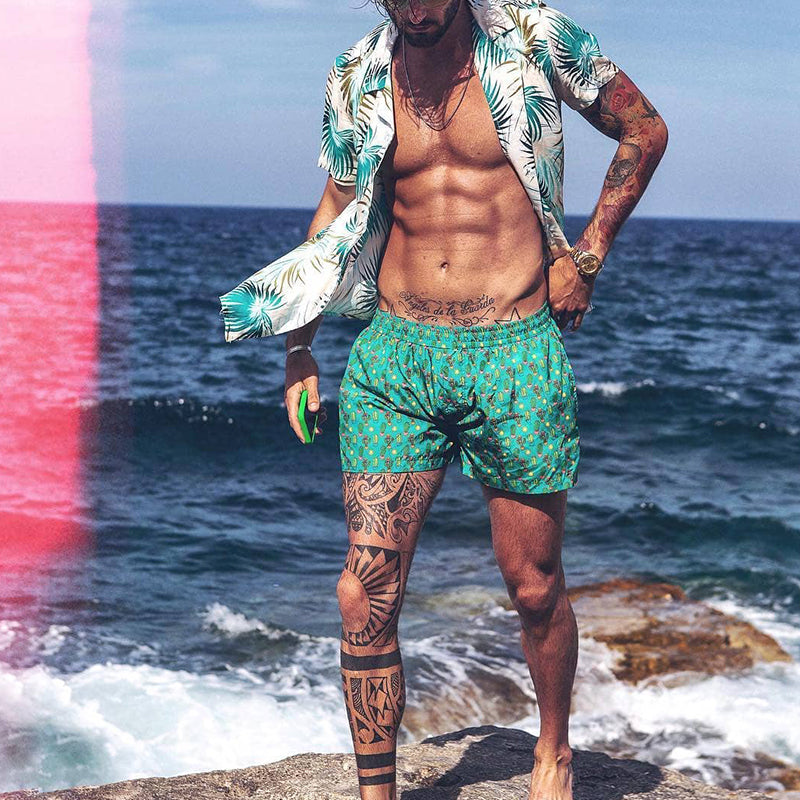 Men Beach Printed Short Sleeves Two-Piece Suits