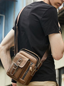 Solid Multi-layer Pocket Casual Crossbody Bag