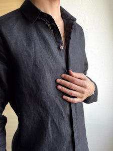 Men Long Sleeves Solid Blouse Shirt