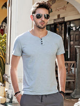 Load image into Gallery viewer, Men Casual Henley Tee Shirt