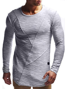 Men Round Neck Solid Blouse T-Shirt