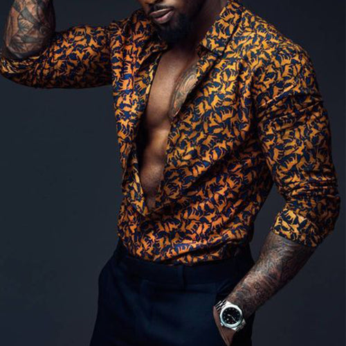 Men Long Sleeves Print Shirt