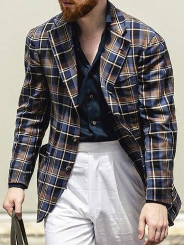Men Revere Collar Vintage Plaid Blazer