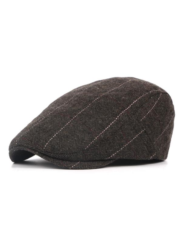Stripe Woolen Warm Casual Cap Beret Hat