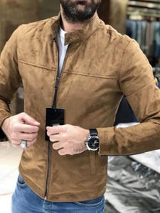 Men Zipper Stand Collar Jacket Coat