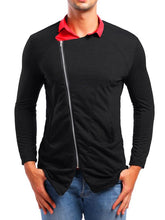 Load image into Gallery viewer, Men Lapel Asymertric Zipper Shirt