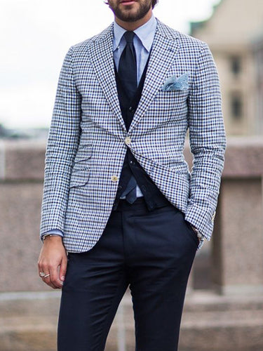 Men Plaid Single Breasted Casual Blazer