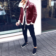 Load image into Gallery viewer, Men Solid PU Jacket Coat