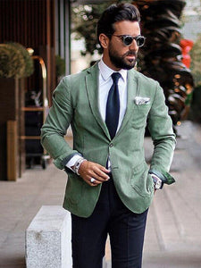 Men Solid Single Breasted Blazer